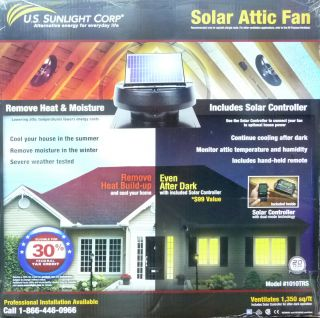 Solar Powered Attic Fan Controller Included 1010TRS US Sunlight Corp