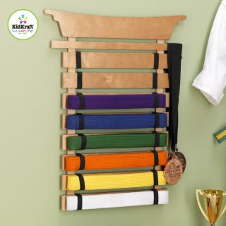 New Wooden Martial Arts Karate Belt Wall Display Holder