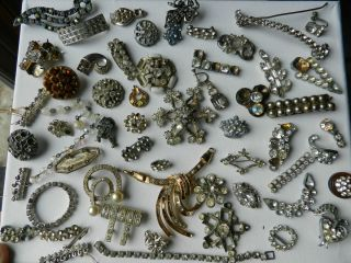 Vintage Art Deco Rhinestone Jewelry Parts Pieces and Repair Lot Lot E