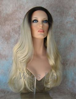 Wigs Champagne w Dark Roots Extra Long Full Skin Top Wig