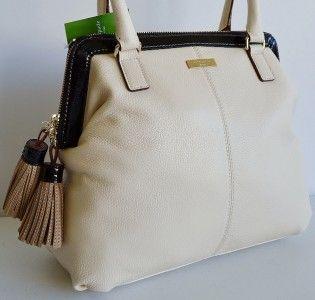 Kate Spade $395 Ashlyn Biscayne Bay Cream Black Tassel Leather Purse
