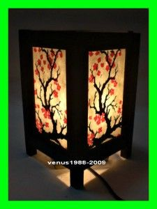 Asian Oriental Home Spa Garden Decor Bedside Table Lamp Cherry Blossom