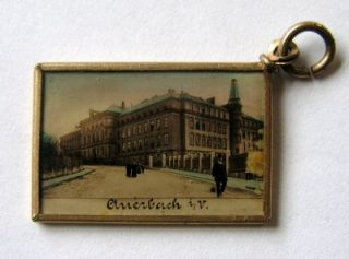 RARE ANTIQUE GERMAN MINIATURE SOUVENIR POSTCARD CHARM ~ AUERBACH