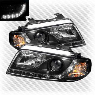 1996 1999 Audi A4 S4 DRL R8 LED Projector Black Headlights Head Lights