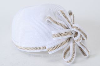 August Accessories Fine Millinery OS White Gold Braided Pillbox Bow