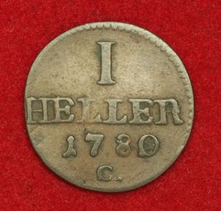 1780, Saxony, Frederick Augustus III. Copper Heller Coin. VF