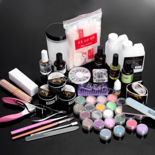 Nail Art Kit Acrylic Pen Powder Liquid Top Coat Tool UA