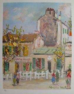 Maurice Utrillo 1955 Signed L E Lithograph Lapin Agile