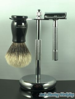 Shaving Set Finest Badger Hair Shaving Brush Art II Stand and de
