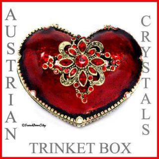 Red Heart Trinket Box w Austrian Crystals
