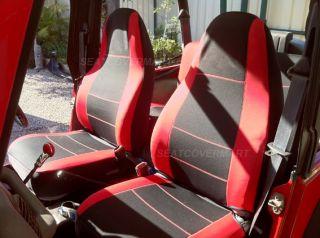 96 Neoprene Front Rear Car Seat Cover Full Set Red YJ127 88b