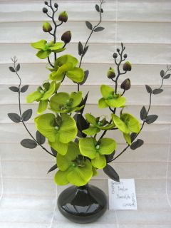 SILK FLOWER ARRANGEMENT IN ROUND VASE:LIME GREEN/BLACK ORCHIDS *Ideal