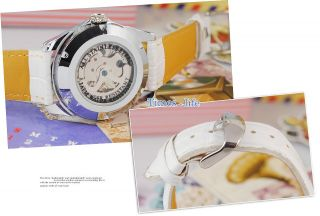 White Mickey Hollow Dial Automatic Lady Watch Lovely Goer New