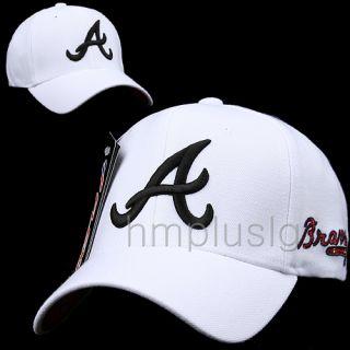Atlanta Braves Flex Fit Baseball Ball Cap Hat MB White