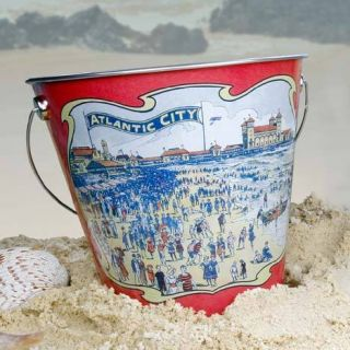 Atlantic City Sand Pail Tin Bucket Home Garden Beach Decor Kids Room