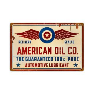American Oil Co Automotive Vintage Metal Sign