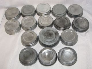 16 VINTAGE ZINC BALL ATLAS CANNING JAR LIDS FOR MASON JARS PORCELAIN
