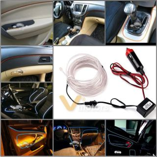 White El Neon Glow Lighting Strip Charger for Car Interior Deco