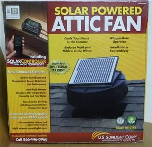 Sunlight Solar Attic Fan Model 1010TR HW Ventilates Up to 1 350 Sq
