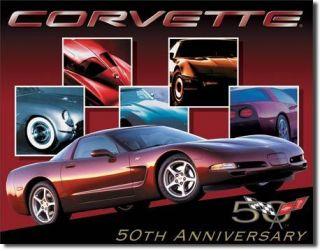 Chevrolet Corvette 50th Car Auto Garage Shop Metal Tin Sign Ad Home