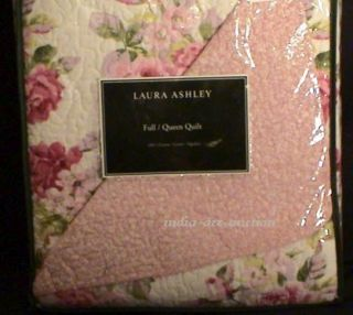 NEW LAURA ASHLEY LIDIA KING QUILT SHABBY ROSES CHIC PINK WHITE NO