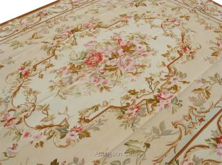 Handmade French Rose Aubusson Area Rug Light Pastel AUBUSSON CASTLE