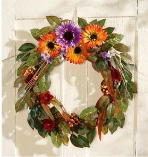 Autumn Floral Wreath Leaves Berries Colorful Fall Blooms Outdoor Decor
