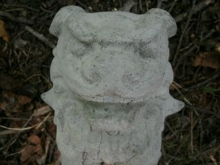 Cement 9 1/2 Foo Dog Asian Oriental Garden Art Statue Concrete Nice