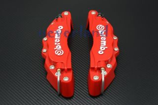 Front Universal Disc Brake Calipers Cover Brembo Style Red 3D Medium