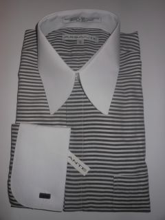 Assante Gray White Striped 16 34 35 Mens French Cuff Dress Shirt S582