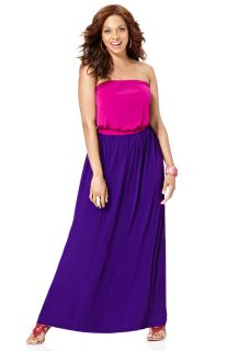 Avenue Plus Size Strapless Colorblock Maxi Dress