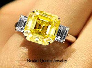 Fancy Yellow Asscher Cut Diamond Engagement Ring in 18k Gold