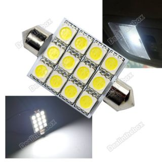 42mm 12V Car Interior Dome Festoon 12 LED SMD Cold White 5050 Light