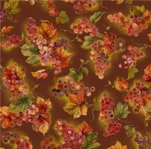 Studio 8 Cornucopia Fabric Autumn Fall Grapes Leaves Maroon 1/2Y
