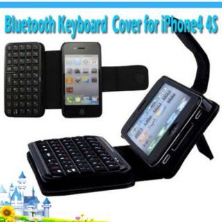 Mini wireless Bluetooth Keyboard Leather Case Cover for iPhone4 4S axp