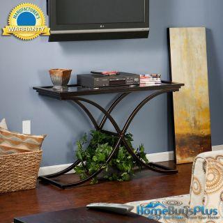 AYDEN Black Sofa Hall Table Metal Glass Foyer Modern Fast SHIP