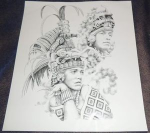 AZTEC PRINCESS WARRIOR CHICANO TATTOO PRISON ART FLASH LOWRIDER 11 W X