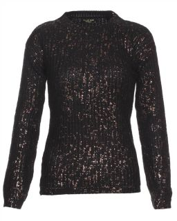 Blue Inc Womens Bronze Foil Long Sleeve Knitted Sweater Black