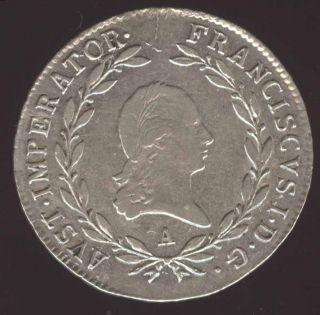 Austria Beauty Scarce 20 Kreuzer High Grade Silver Coin