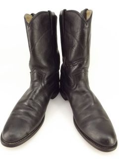 Cowboy Boots Black Leather Justin 7 5 B Western Roper Classic