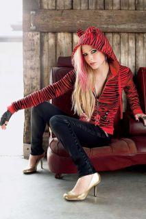 Abbey Dawn Avril Lavigne Red Zebra Boombox Hoodie RARE