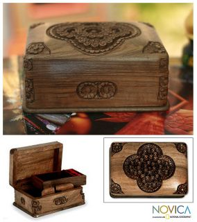 Hand Carved Velvet Lined Walnut Wood Jewelry Box New