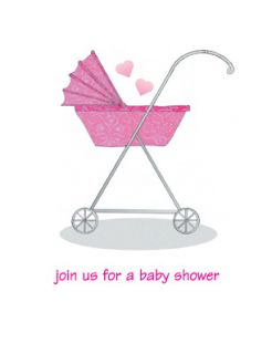 Pack of 10 Baby Shower Invitations Pink Stroller B 01PINK