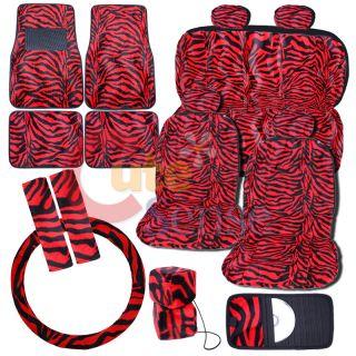 Zebra Black Red Car Seat Covers Auto Accessories 16pc