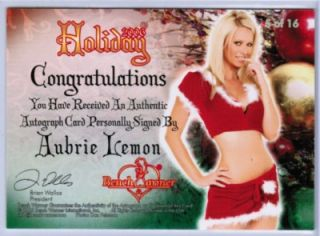 AUBRIE LEMON 2006 BENCHWARMER HOLIDAY #d 38/50 CHRISTMAS AUTOGRAPH SET