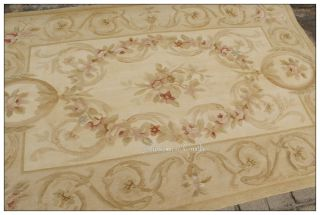 4x6 Hand Woven Aubusson Area Rug Pastel Beige Cream Vintage French