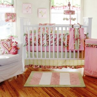 Baby Sam Paisley Splash in Pink Baby Girl Bedding 4 Piece Crib Bedding