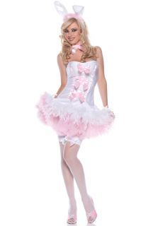 Sexy White Bunny Rabbit Baby Pink Feather Costume Dress