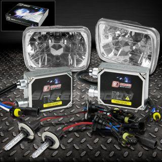 7x6 H6054 Clear Chrome Square Car Headlights H4 4300K HID Bulb Ballast