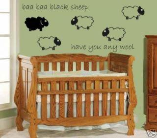Baa Baa Black Sheep Baby Nursery Childs Room Wall Decal